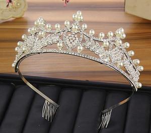 Luxus-Kristallen Hochzeit Crown Silber Gold Rhinestone-Prinzessin Königin BrautTiara-Krone Haarschmuck Perlen preiswerte Qualitäts
