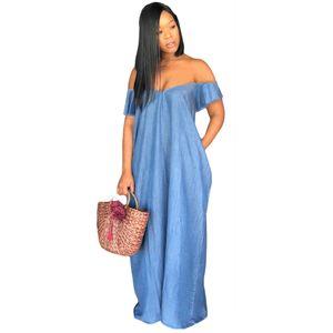 Femmes Profonde V-cou Jean Robes D'été Cou Designer Designer Robes Sexy Robes De Mode Femelle Lâche Vêtements De Fête