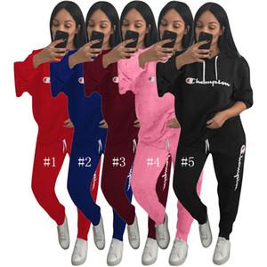 Femmes Automne Outfit Sweat Pull Champion Lettre Designer Survêtement À Capuche Chandail Top + Pantalon Leggings 2 Pièce Ensemble Sportswear C8101