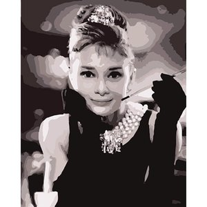 40*50 cm Movie poster Audrey Hepburn wall decor pictures with frame for living room painting by numbers cuadros decoracion DY528