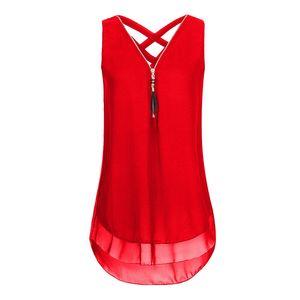 Rouge tendances Nouveau Blouses Chemise En Mousseline De Soie Femmes D'été Blusa Feminina Sexy Harajuku V-Cou Sans Manches Zipper lâche tendances de mode T-Shirt Gilet