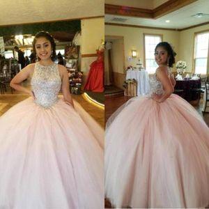 Rosa Crystal Top Promkleider Sexy Jewel Tulle Ballkleid Vestidos 15 anos Bonbon 16 Abendkleider Open Back bodenlangen BC2686