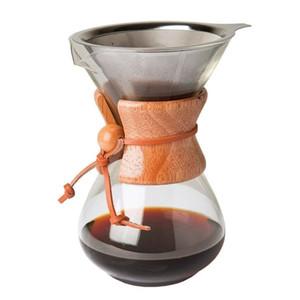 Кофейник 400 мл с фильтром ручной капельный Drinkware чайник высокого боросиликатного стекла прочный кухонный инструмент Diy Pour-Over Bar