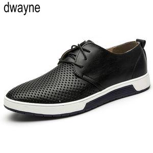 Los hombres zapatos casuales de cuero respirable del verano agujeros zapatos planos para hombres dfv67 envío de la gota