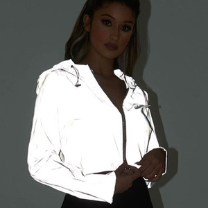 2019 Flash Reflective Jacket Mujeres Abrigo con capucha corto Night Glowing Chaqueta corta Cremallera frontal Mujer con capucha reflectante