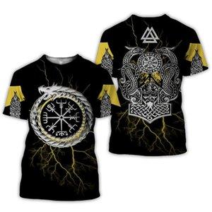 2020 New Moda Masculina Verão 3D Impresso Viking Tattoo camiseta T calções manga Vestuário Unisex Norse cosplay streetwear