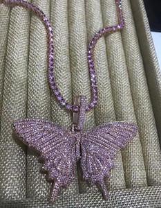 Подвеска бабочка 14K Iced Out ожерелья мужские цепи розовый Подвески Алмазный бабочка ожерелье рэппер Singer ювелирные изделия