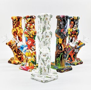 Printing Silicone Bong water Pipe silicone bongs pipe Camouflage colorful With Silicone water smoking pipes Unbreakable Oil Rig Honey Comb