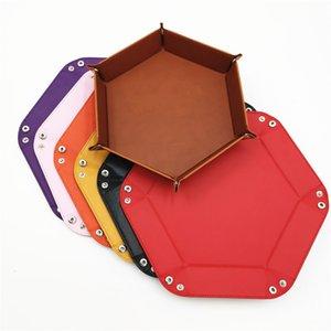 Foldable PU Leather Sundries Storage Tray Dice Key Wallet Coin Box Office Desktop Storage Box Trays Decorative Storage Organizer