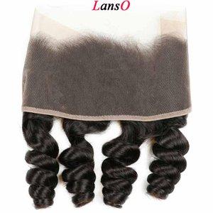 Cierre frontal del cordón 9A Mongolia suelta la onda profunda de cabello frontal de Mongolia Cuerpo Virgen de la onda del pelo humano con el bebé Cabello blanqueado nudos de cierre