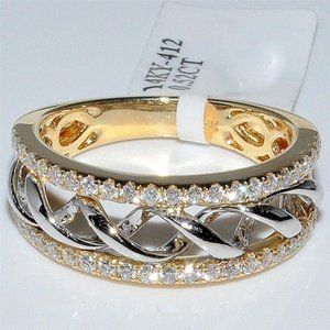 20200415 plaqué or mode chaud anneau zircon deux couleurs et le bracelet