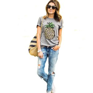2019 Apparel for Women Fashion T-Shirts Women Summer Pineapple Fruits Print Short Sleeve O Neck Cotton Club Casual Tops Tees wholesale