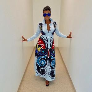 Sexy abito donna nuova farfalla stampato manica lunga collo risvolto vita alta fit flare lungo maxi vestito casual Party dress Camicia lunga moda