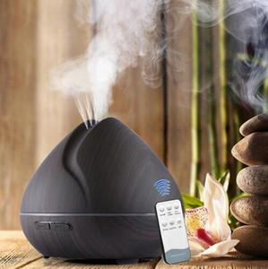 Luz 550M Con difusor del aroma del grano de madera del difusor de 7 colores LED para el hogar humidificador de aire