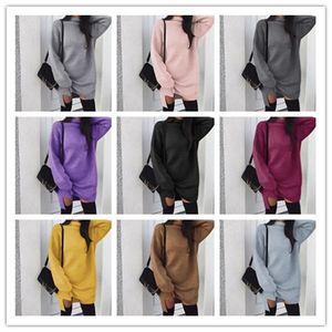 Maglione vestito dalle donne Girls High Neck Autunno Inverno caldo colore solido allentato Knit Abiti Moda Knitting Hoodie Dolcevita Abito lungo Spalato