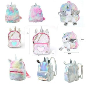 Lantejoulas Fluffy Unicorn Backpack Plush Escola Bags meninas das mulheres Mochila Zipper Multicolor Estudante do arco-íris Fur bonito Ear Satchel Shoulderbag
