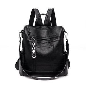 Mochila Mulheres moda selvagem couro de carneiro Bag Of Leather Shoulder mãe macia Backbag Waterproof Anti-roubo Mochilas Womens