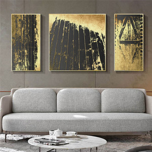 Abstract Gold Black Nordic Home Decor Canvas Art Painting Picture Wall Art Poster Print Living Room Minimalist Painting