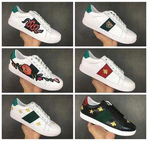 gucci 2020 chaussures de marque Chaussures Hommes Casual femmes blanches espadrilles bonne broderie fruit chien tigre coq d'abeille sur les Zapatos de serpent latéral 36-45