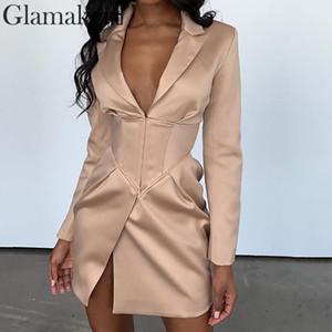 V de color caqui del vestido de Glamaker mayor-sexy chaqueta de las mujeres del invierno del otoño del bodycon capa fina elegante ropa exterior femenina del partido del club de noche chaqueta