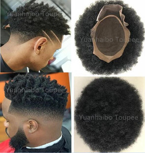 Afro Curl Curl Human Cabelo Toupee Black Color Curto Indian Remy Hair Mens Peruca Peakiece Toupee para Homens negros Frete Grátis