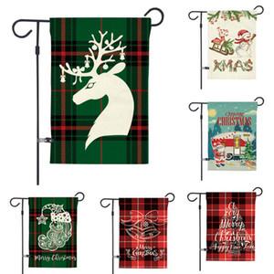 Weihnachten Willkommen Garten Flagge Buffalo Retro Plaid rustikale Bauernhaus Burlap Flag Yard Außendekoration 12,5 x 18 Zoll HH9-2590