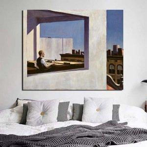 Edward Hopper bureau dans une petite ville de toile Affiche de peinture Prints Marbre Wall Art Peinture décorative Image moderne Décoration d'intérieur