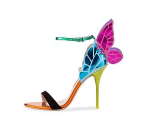 Mode Coloré Papillon Mince Talons Hauts Femmes Sandales Boucle Sangle Exquise Wing Chaussures Femme Robe De Soirée Pompes Femmes
