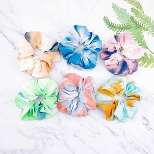 Ladies Tie-dyed Hairbands Women's Girls Colorful Scrunchies Colon Circle Hair Band Fixed Hair Girls Scrunchy Hair Circle Accessories D3603