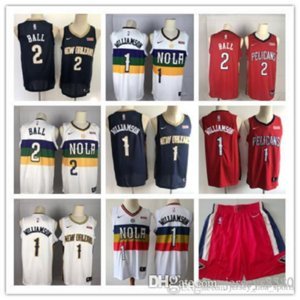 Mens New OrleansPelicans Throwback jerseys Zion 1 Williamson Lonzo 2 Ball Basketball Shorts Basketball Jerseys Purple White Red 05