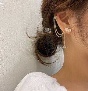 AOMU 2020 New Korea S925 Silver Shine Rhinestone Meteor Asymmetric Tassel Chain Ear Bone Clip Crystal Hexagram Women Earrings