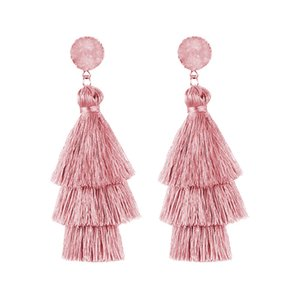 새로운 유행 3 계층화 된 다채로운 술 귀걸이 수제 보헤미아 스타일 수지 스톤 매달려 여성용 귀걸이 고품질의 보석 선물