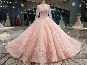 Pearl Pink 3D-Blumen-Ballkleid Hochzeit Drseses Luxus Lange sleevs Juwel-Ansatz-Spitze Plus Size Arabisch Dubao Braut Quinceanera Kleid