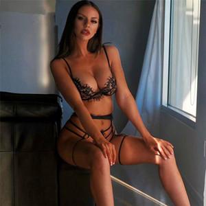 3шт Lace Sexy Бюстгальтеры Комплекты Lingerie Тонкий Глубокий V шеи белья Твердая Подвязки бюстгальтеры Эротический Babydoll сексуальное нижнее белье