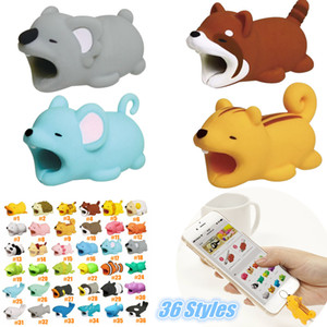 Kawaii 36 estilos Cable Bite Protector para USB Lightnig Cable de datos Mini Head Holder Cable Cable Animal Design Regalos creativos Paquete al por menor