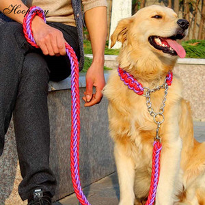 Handmade Nylon Collar For Large Dogs Durable Knitted Dog Collar With P Chain Pet Leashes For Walking Training Dog Accessories