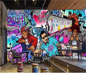 Formato personalizzato 3d foto carta da parati lving camera murale graffiti hip hop musica rock bar immagine KTV sfondo muro carta da parati non tessuto wall sticker