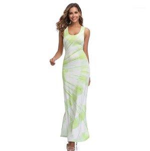 Moulantes Robes Casual Scoop Neck Femmes Robes Vert Femmes Sexy Bohème Robes d'été sans manches de Split dames