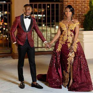 Plus Size Burgundy Mermaid Evening Dresses Off the Shoulder Sequined Gold Appliques Side Split Celebrity Gowns