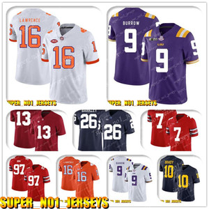 5-24 NCAA 16 Trevor Lawrence 9 Joe Burrow, LSU Tigers balompié Jersey Alvin Drew Brees Kamara Michael Thomas Marshon Lattimore