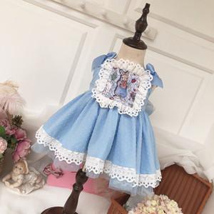 Girls Spanish Spain Style Dress Lace Print Lolita Princess Classic Girls Dress Retro Ruffles Party Kids Girl
