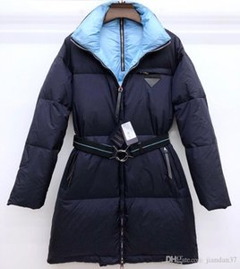2019 chaqueta abajo de la mujer, la señora de la capa engrosada cinturón de diseño de estilo OL ambiente elegante negro gris azul