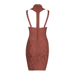 2016 new fashion top quality burnt brown crossover bandage dress winter Sexy evening Party Bodycon dresses Dress + suit