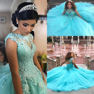 Turquoise Cap Sleeves Lace Ball Gown Quinceanera Dresses 2020 Tulle Appliques Beaded Sweep Train Prom Evening Formal Party Gowns BC3668