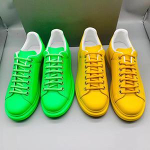 Designer de Calçados Masculinos Fluorescente de Néon Sapatilha Verde Mulheres Sapatos Casuais Amarelo Sapatos de Plataforma De Grandes Dimensões Low Top Lace-Up Casal Sapato Fluorescente