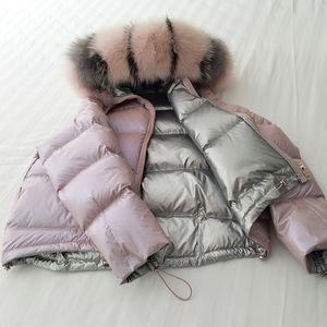 Ailegogo Frauen Double Sided Brot mit Kapuze weiße Ente Daunenmantel Großer Pelz-Kragen-Winter-Schnee-Warm Dicke Parkas Outwear Tops