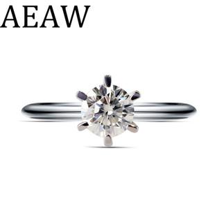 Aeaw Real Стерлингового Серебра 925 Моссанит Кольцо 5 мм 0.5ct Круглый Cut Df Lab Diamond Свадебные Украшения 6-контактное Кольцо Обручальное Для Женщин J190525