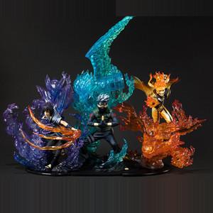 Аниме Наруто: Shippuden Uzumaki Naruto Uchiha Sasuke Hatake Kakashi PVC Action Figure Collectible Model Toys для рождественского подарка Y200421