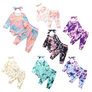 Christmas Baby Boy девушка Tie Dye Outfit Ткань осень-зима малышей лук повязка + Комбинезон + Pant 3шт Set Новорожденный Boutique Tracksuit