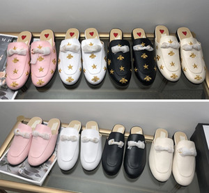 Moda Lüks Tasarımcı Kadınlar Ayakkabı Katır Açık Moda Düz Mule Ladies Loafers Bayan Yaz Terlik Süet Gerçek Deri Ayakkabı